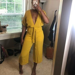 Blue Blush Other - Yellow Low Cut Jumpsuit